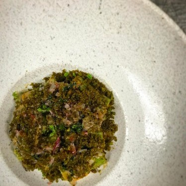 Ramp rigatoni, dried scallop, morels, potato and parsley at George's At The Cove