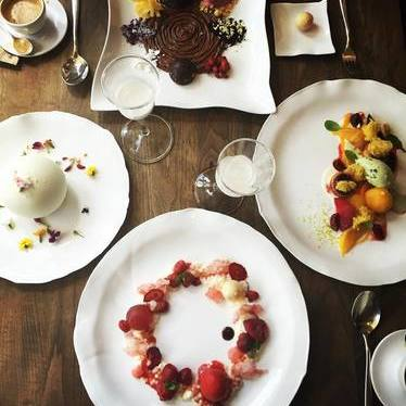 Fruit arrangement and pastries for brunch at Terrace at Jean-Georges
