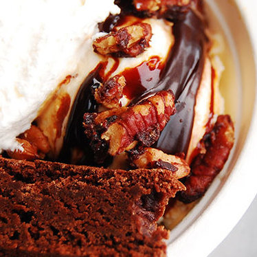 Brownie sundae w/ salted caramel ice cream at Bi-Rite Creamery