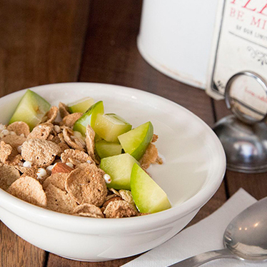 Coffee, housemade cereal, & yogurt at farm : table