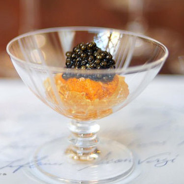 Caviar w/ cauliflower & smoked chicken jelly at Saison