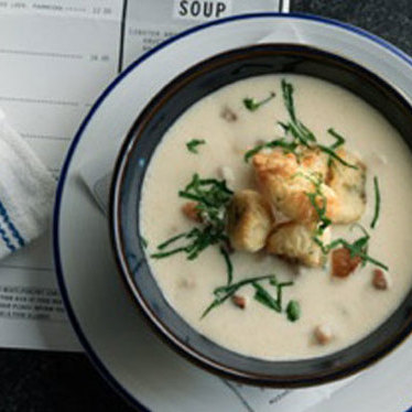 Local clam chowder at Island Creek Oyster Bar