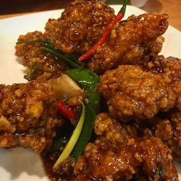 General Tso fried chicken at Ma'ono Fried Chicken & Whisky