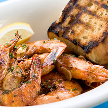 New Orleans-style BBQ shrimp at Perla's Seafood and Oyster Bar