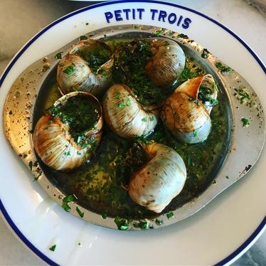 Big Mec, escargot, lobster thermidor, squash soup, baguette, Parisian flan, and Paris-brest for lunch at Petit Trois