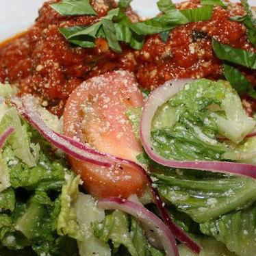 Meatballs w/ Romaine salad at Viaggio