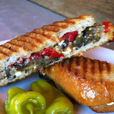 Grilled eggplant panini at Mario's Bohemian Cigar Store Cafe