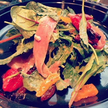Fruta salad with kale, prosciutto, and stone fruit at Craft Pizza Co.
