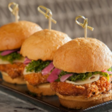 Fried Jidori chicken sliders at Copper Bar