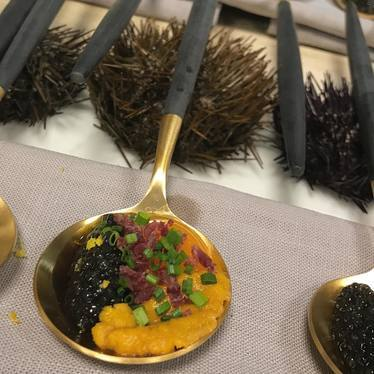 Uni, caviar, quail eggs yolk & cecina at Toro + KO
