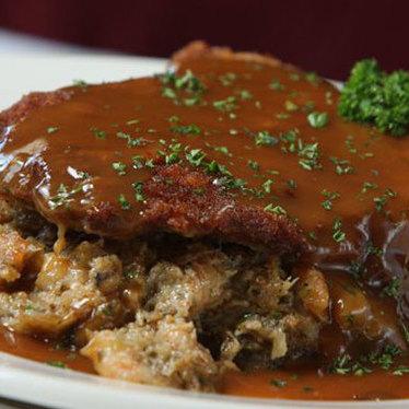 Seafood stuffed pork chop at Vincent's Italian Cuisine