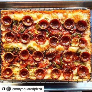 Pepperoni pickled chili honey pizza at Pizza Loves Emily
