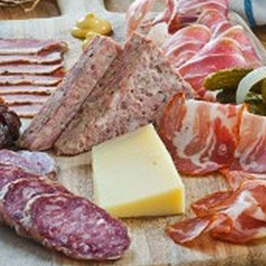 Charcuterie board at St. James Cheese Company