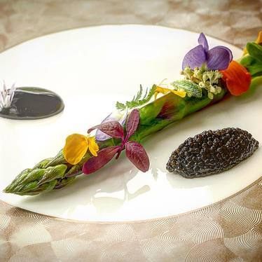 Asparagus, caviar, squid ink, and garnishes  at Langdon Hall