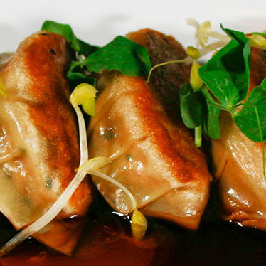 Pork belly & scallion dumplings at Pubbelly