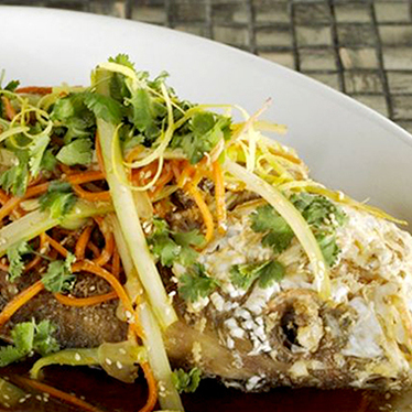 """Whole yellowtail snapper """"Chinese style"""" at The River Seafood & Oyster Bar"""
