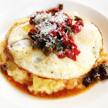 Polenta and eggs at Serpentine