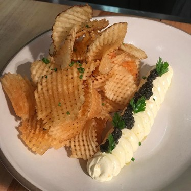 Lebneh, caviar and gaufrettes at Acacia House by Chris Cosentino