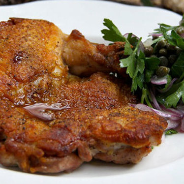 Pan roasted 1/2 poulet rouge chicken at Michael's Genuine Food & Drink