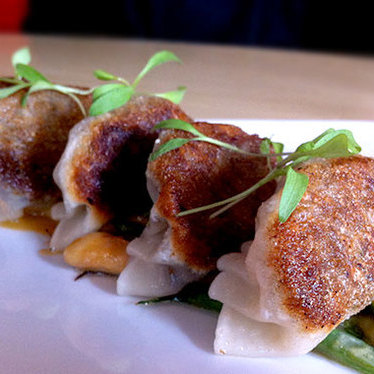 Cinnamon oxtail gyoza at SUSHISAMBA West Village NYC
