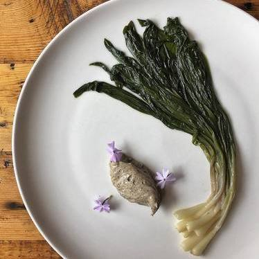 Buttered Ramps, burnt lime aioli at Bisq
