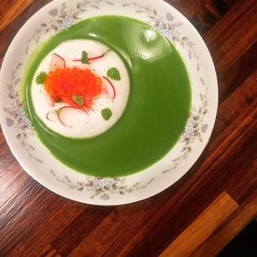 Radish top gazpacho, smoked salmon roe, lemon balm at Olmsted