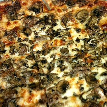 Sausage & mushroom pizza at Louie's