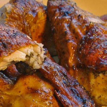 Charcoal-grilled chicken at La Brasa Roja