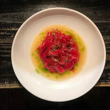 Watermelon tiradito with watermelon rind leche de tigre at Eating House
