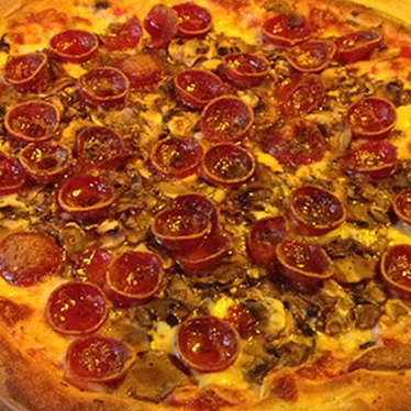 Mushroom & pepperoni pizza at Tommaso's Restaurant