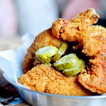 Skillet fried chicken at Chicken Scratch