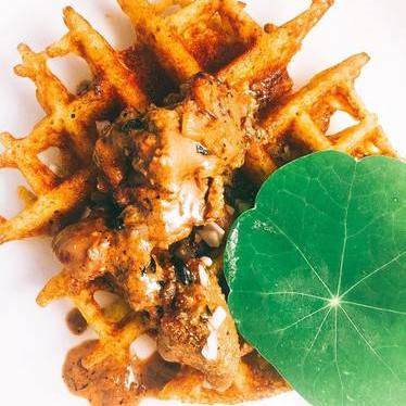 Zat'r spiced waffle, sautéed duck livers, brandy shallot cream at Chef Shack Ranch