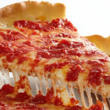 Deep-dish pizza at Lou Malnati's Pizzeria