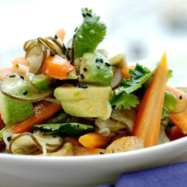 Spicy carrot & avocado salad at Departure