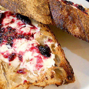 Toast w/ butter & jam at Oui Presse