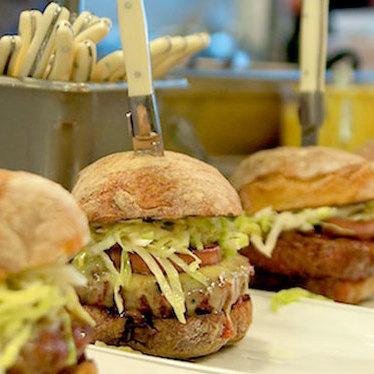 """Le Pigeon"" burger at Little Bird Bistro"