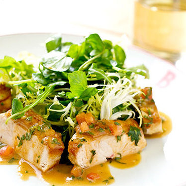 Chef Philippe's warm chicken salad at Benoit Bistro