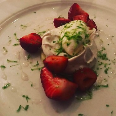 Meringue with strawberries and lime at Babbo Ristorante