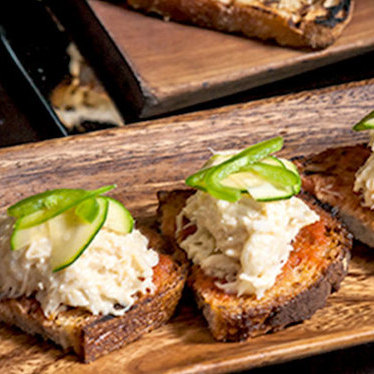 Blue crab crostini at Locanda Verde
