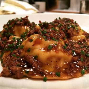 Lobster tortellini with fermented black bean sauce at Le Farfalle
