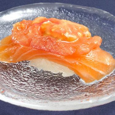 Salmon w/ tomato sushi at Sushi of Gari