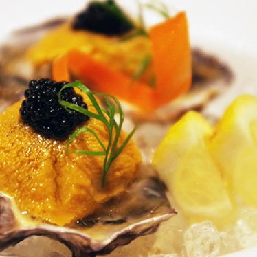 Oyster half shell w/ uni & caviar at K-ZO Restaurant