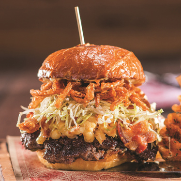 Bacon mac-n-cheese burger at Guy Fieri