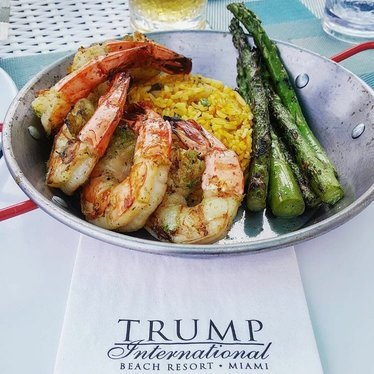 Shrimp with rice and asparagus  at Trump International Beach Resort Miami