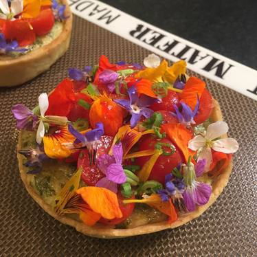 Tomatoe pie, edible flowers at Morada (inside The Inn At Rancho Santa Fe)