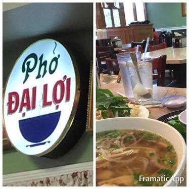 Chicken pho with noodles, scallions and broth at Pho Dai Loi - Forest Park