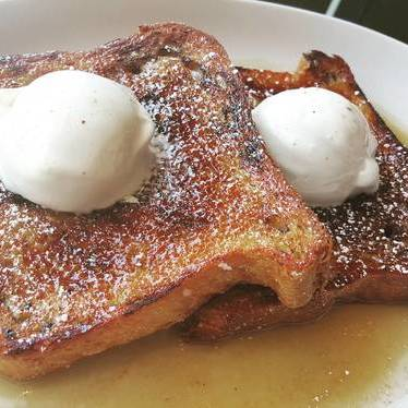 Chai french toast brulee, mascarpone ice cream, brown butter, maple syrup at Wolf