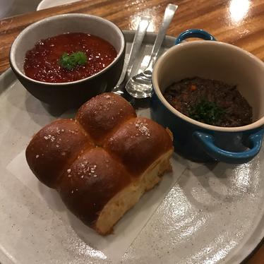 Bone marrow custard with sweet rolls and beef cheek marmalade  at Senia