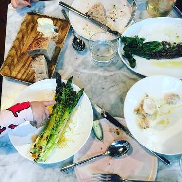 Kale, asparagus, bread and butter at Sunday In Brooklyn