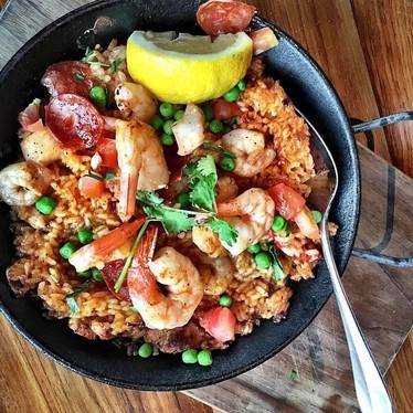 Open-flame paella, shrimp, peas at JOEY Bentall One